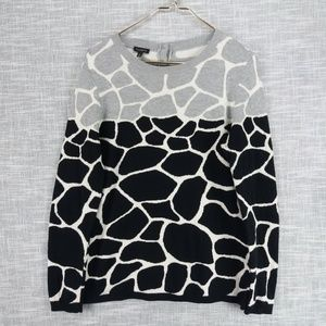 Talbots Giraffe Print Crew Neck Sweater Medium